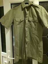 """MANS ARMY SHORT SLEEVE SHIRT - 37"""" CHEST - STONE COLOUR - GOOD USED CONDITION"""