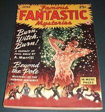 Famous Fantastic Mysteries for June 1942 Vintage Pulp A.  Merritt, Ray Cumming