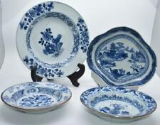 4 no.18thC Qianlong Chinese Plates / Dishes - Various Blue and White Patterns
