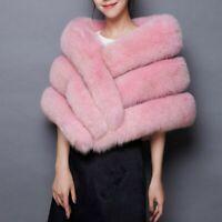 165cm/65inch Lady Men&Women Real Silver Fox Fur Collar Scarf Shawl Wrap Cape USA