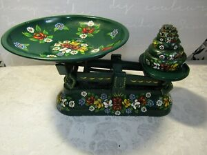 Vintage Handpainted Bargeware Siddons Imperial Scales & Weights 0.25 oz to 1 lb