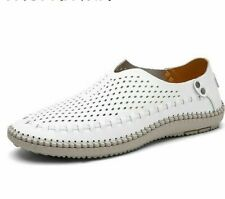 Casual Shoes Men's Loafers Leather Moccasins Flats Hollow Breathable Rubber Shoe