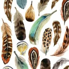 4 x Paper Napkins - Aquarell Feathers - Ideal for Decoupage / Napkin Art