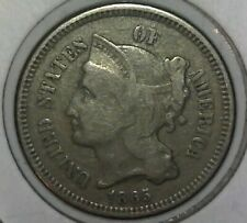 1865-P Three Cent Nickel - First Year of Mintage - F/VF