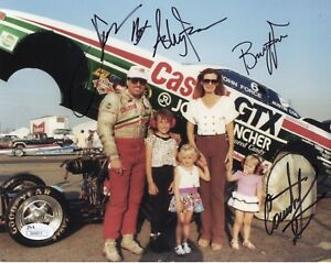 FORCE FAMILY NHRA HAND SIGNED 8x10 PHOTO    JOHN+ASHLEY+COURTNEY+BRITTANY    JSA