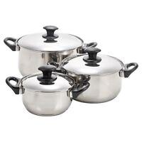 Berger 6pc Stainless Steel Cookware Set Saucepan Lids Pot Cooking Kitchen Food