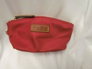 Dooney and Bourke Nylon Cosmetic Pouch Burgundy Lined 7.5 x 3.5