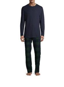 Hanes Men's Size XXL Long Sleeve Waffle Top with Cozy Micro Fleece Pajama Pant