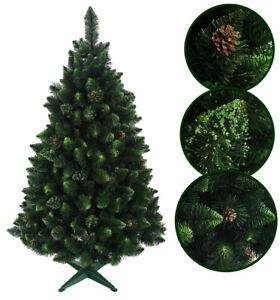 Weihnachtsbaum künstlich Tannenbaum 220cm mit Kiefernzapfen und grünen Glitzer