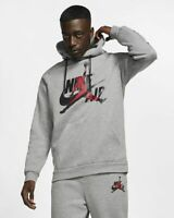 Nike Air Jordan Jumpman Classics Fleece Hoodie Gray Black BV6010-091 Men's NEW