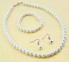 White Pearl Effect Necklace Bracelet Earring Bride, Prom, party Jewellery Set