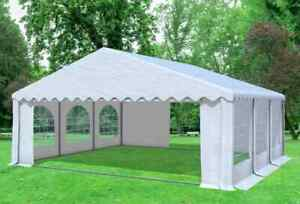 6x6 m Partyzelt Festzelt Bierzelt Pavillon inkl. Seitenwände PVC Weiß