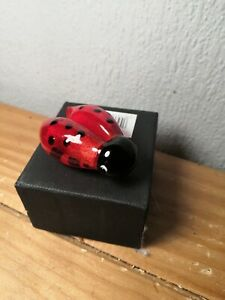 COLOURED GLASS LADYBIRD ORNAMENT BOXED