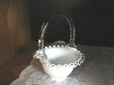 Fenton White Art Glass Basket Clear Handle and Corrugated Rim Signed  NICE  #CR