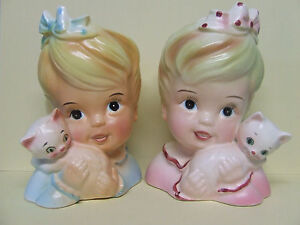 Vintage Blond Girls w/Kitty Cats & Bows Planters