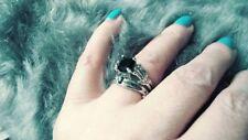 2 Piece, Silver Plated Black Sapphire SKELETON BONES Bridal Set Ring 7