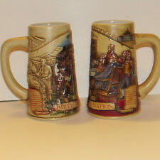 "2 Miller Beer Steins Mugs Birth of a Nation 1776 & 1804 Design  7"" Pottery EUC"