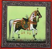 Handmade Decorated Royal Horse Painting Indian Miniature Art Painting