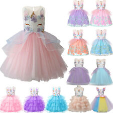 Flower Girls Unicorn Dress Kids Princess Wedding Bridesmaid Tulle Party Costume