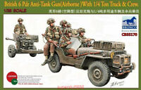 Bronco 1/35 35170 British 6 Pdr Anti-Tank Gun With 1/4 Ton Truck&Crew Hot