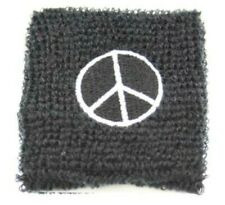 Unisex Black & White Peace Sign Sweatband Wristband Fancy Dress Novelty