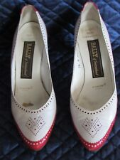 Vintage Bally'sWomen's Shoes Red White Leather Heels Pumps 7.5 N