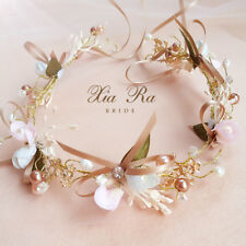 Bride Wedding Headband Beach Party Crown Floral Headdress Pearl Flower Hairband
