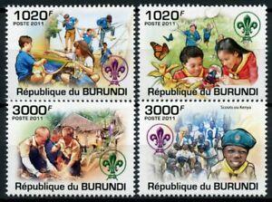 Burundi Scouting Stamps 2011 MNH Boy Girl Scouts Butterflies 4v Set