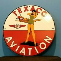 VINTAGE TEXACO GASOLINE PORCELAIN PIN UP AMERICAN GIRL GAS OIL SERVICE PUMP SIGN