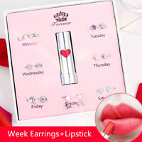 7Pairs/Box 925 Sterling Silver One Week Earrings Ear Studs Jewelry Gift+Lipst HD