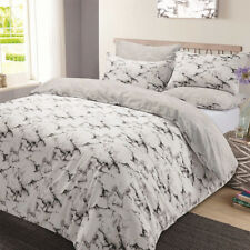 Dreamscene Premium Marble Edge Duvet Cover With Pillow Case Reversible Bedding