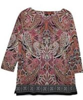 🔥 $58 NEW Rafaella Women's Paisley 3/4 Sleeve Knit Tunic Shirt Top SMALL #BB 🔥