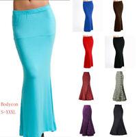 Ladies Womens Gypsy Jersey Vintage Long Bodycon Ruffle Fishtail Maxi Skirt Skirt