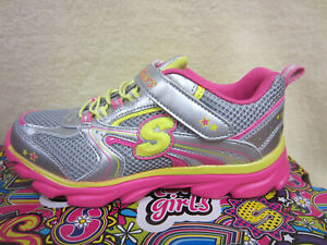 New Skechers Lite Waves SKYBEAM Girl Junior Size 12 Shoes 80617L/SMLT Silver