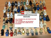 BUNDLE of 4 genuine LEGO RANDOM STAR WARS MINIFIGURES + accessories figures