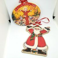 2 Vintage Mary Engelbreit Christmas Ornaments Wooden Santa Pajama Kid I Love