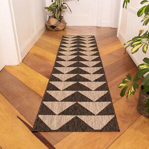 Modern Geometric Washable Rug Black Indoor Outdoor Rugs Easy Clean Flatweave Mat