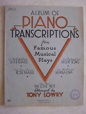 Album of Piano Transcriptions Musical Plays Tony Lowry Sheet Music 20 Pages