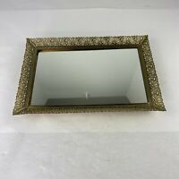 Vintage Ornate Filigree Gold Tone Metal Framed Rectangle Vanity Tray Mirror 8x11
