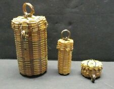 3 Miniature Craft - Dollhouse Wicker Baskets w/Lids, Laundry, Wine, Hat & Other