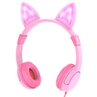 LED Glow Cat Ear Kid Wired Headphone Headset Stereo Music Earphone For Age 3-12