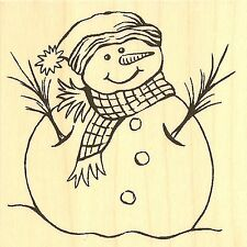 WINTER SNOWMAN Wood Mounted Rubber Stamp IMPRESSION OBSESSION D16254 NEW
