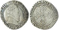 HENRI  III  ,  1/2  FRANC  ARGENT  AU  COL  FRAISÉ  ,  1587  H  LA  ROCHELLE