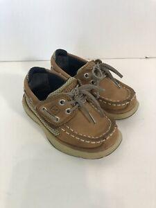 Sperry Boys Size 7M Lanyard AC DK Tan/Navy CB48948A With Box, Hook/loop Closure