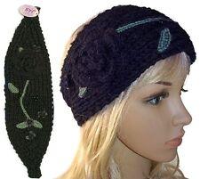 Crochet Headband Hair Band Knitted Flower Leave Beaded