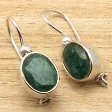 Emerald Earrings, Girl's Lightweight Jewelry 925 Silver Plated Green Simulated