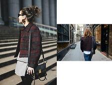ZARA Maroon Studio Checked Print Ladies Jacket Coat size SMALL ( Big size )