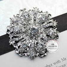"5 X WEDDING INVITATION RHINESTONE VINTAGE BUCKLE CLUSTER BROOCH ""CROWN"""