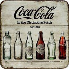 Coca Cola Timeline Blech Untersetzer 9 x 9 cm Metall Tin Sign USE41
