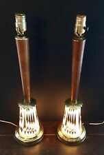 VTG MID CENTURY ATOMIC SPUTNICK DIAMOND PATTERN ELECTRIC TABLE LAMP LIGHT PAIR